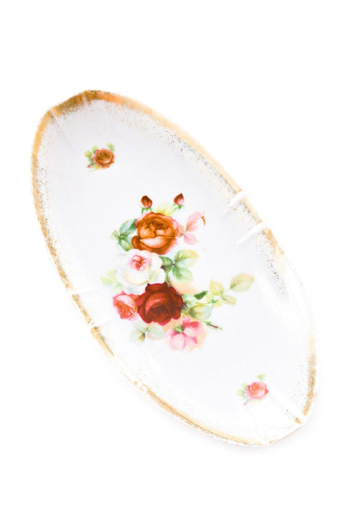 Oval Floral Jewelry Dish