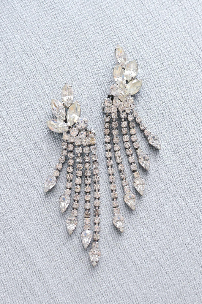 Rhinestone Crawler Drop Clip-on Earrings