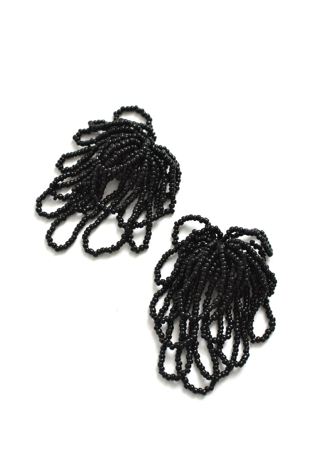 Black Beaded Clip-on Earrings