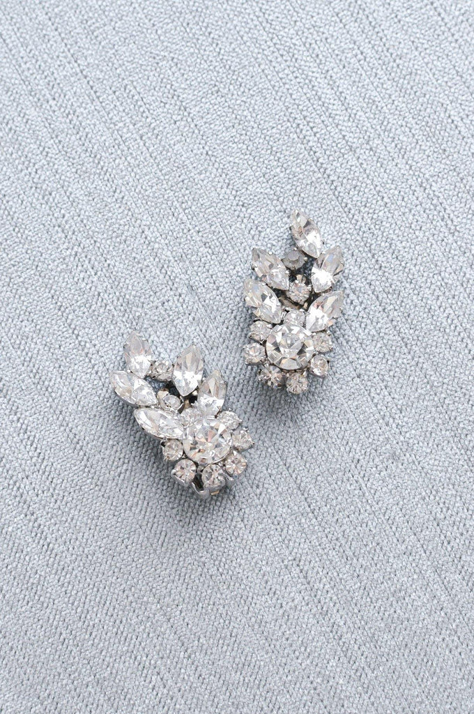 Pretty Rhinestone Crawler Clip-on Earrings