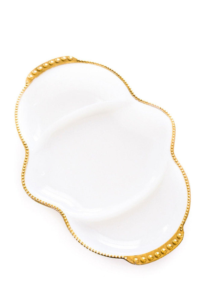 White Milk Glass Jewelry Dish
