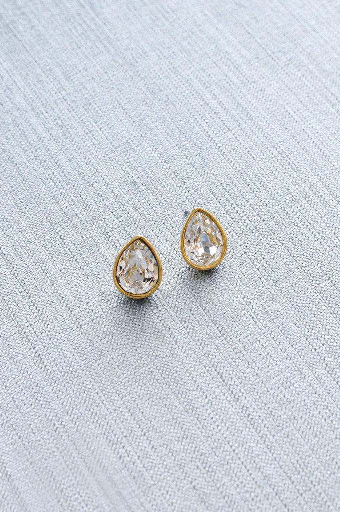 Teardrop Rhinestone Pierced Earrings