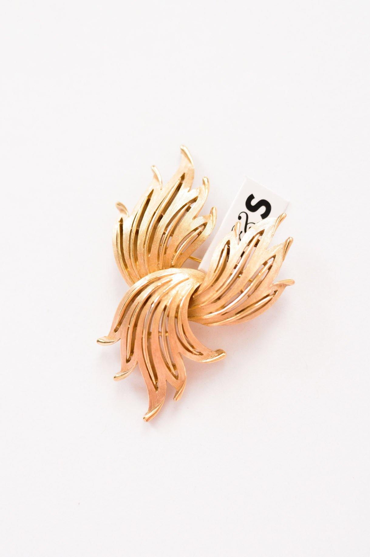 Trifari Feather Brooch