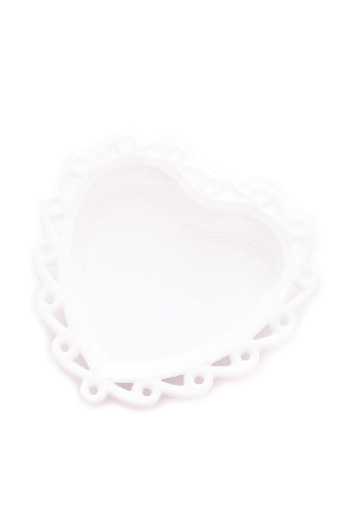 Milk Glass Heart Jewelry Dish