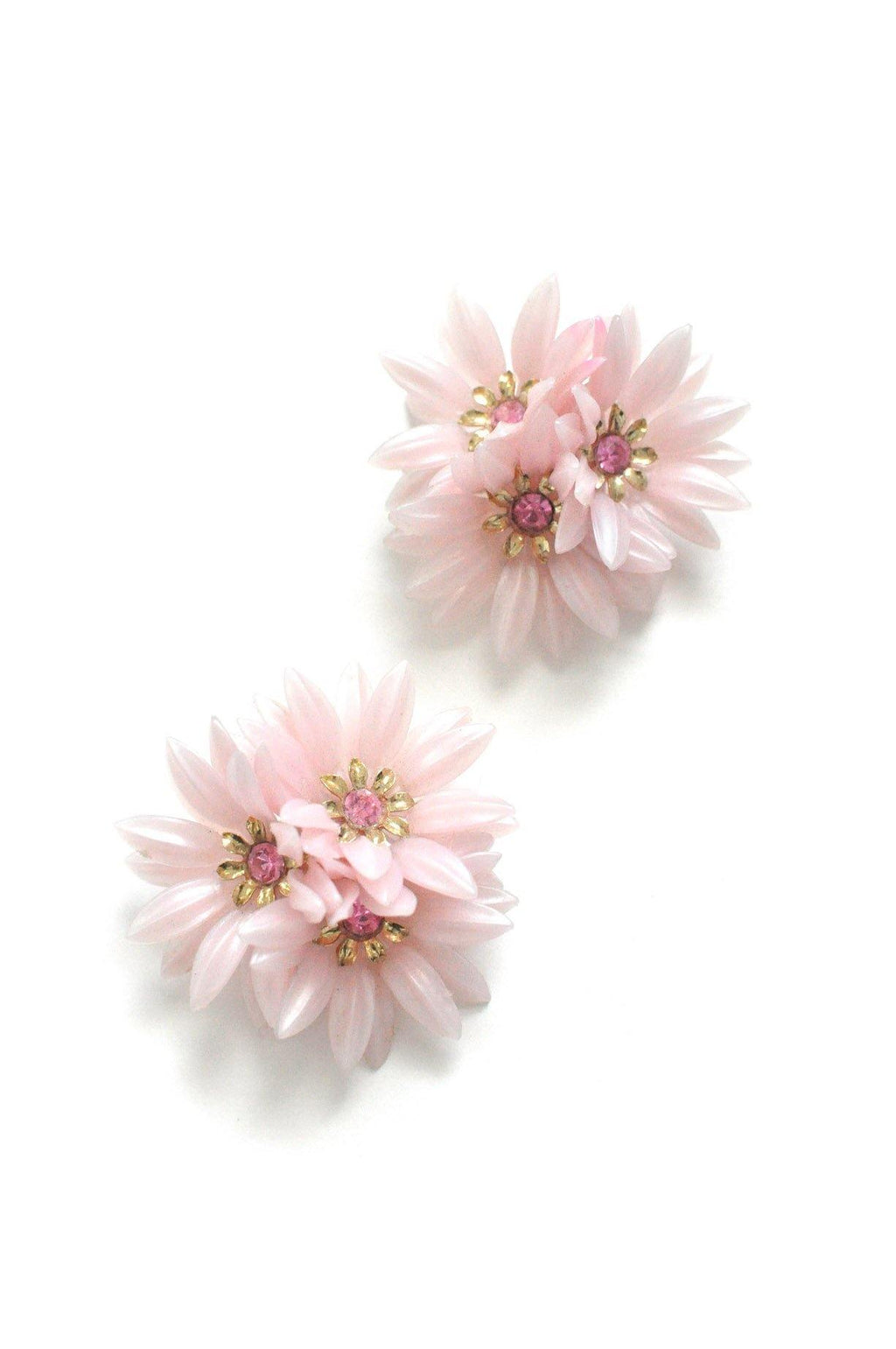Pink Floral Clip-on Earrings