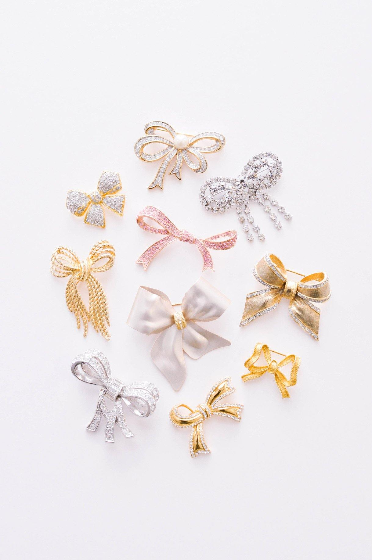 Frosted Pink Bow Brooch