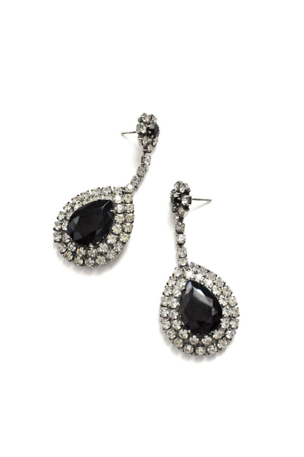 Black Rhinestone Pierced Earrings