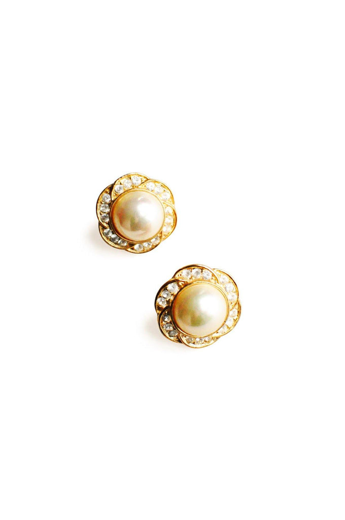 Rhinestone Pearl Pierced Earrings