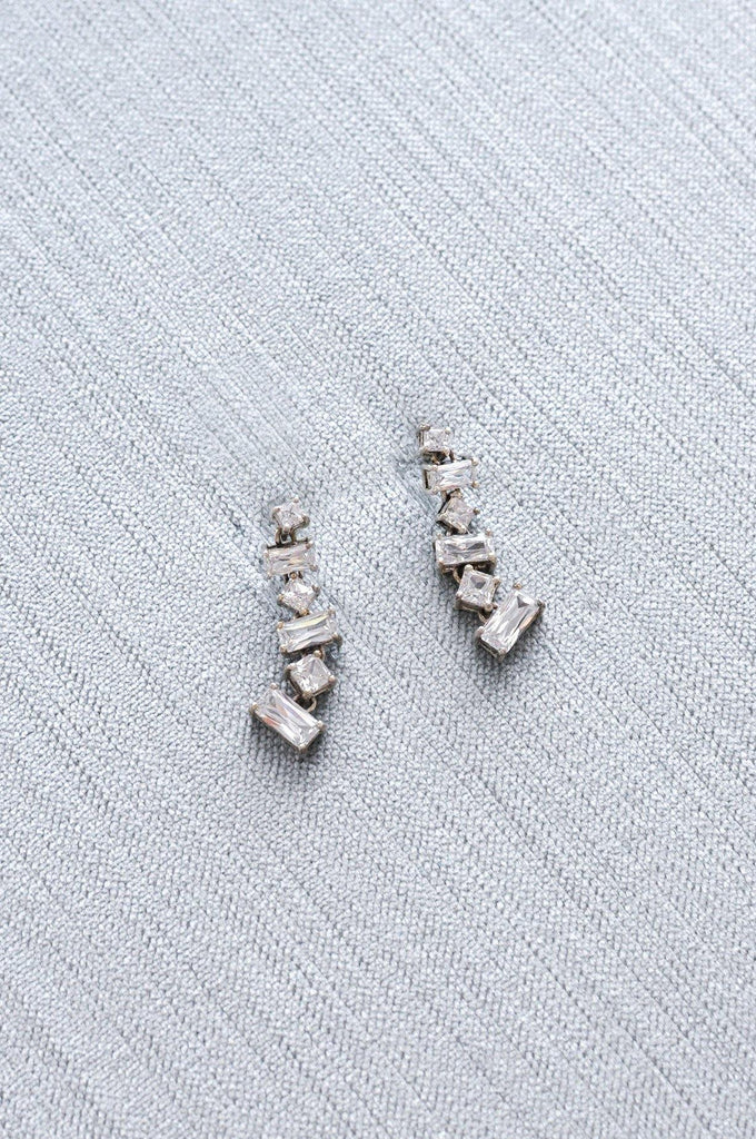 Rhinestone Drop Pierced Earrings