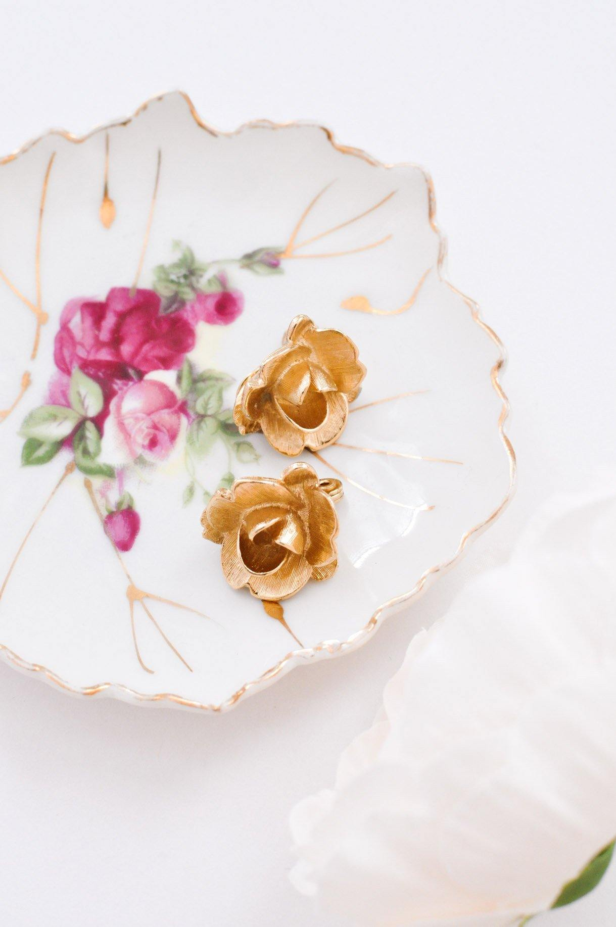 Textured Gold Floral Clip-On Earrings