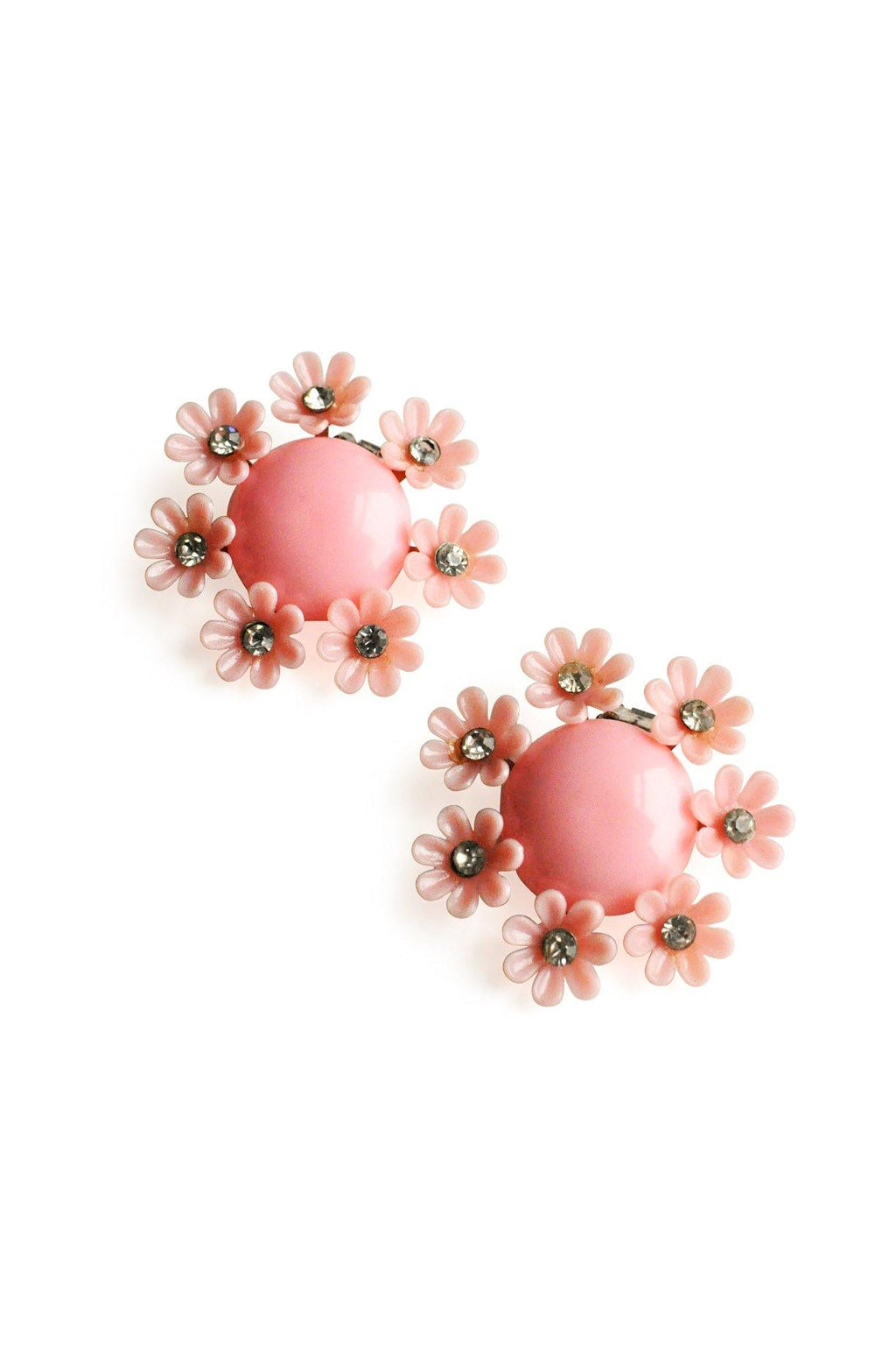 Pink Plastic Flower Clip-On Earrings
