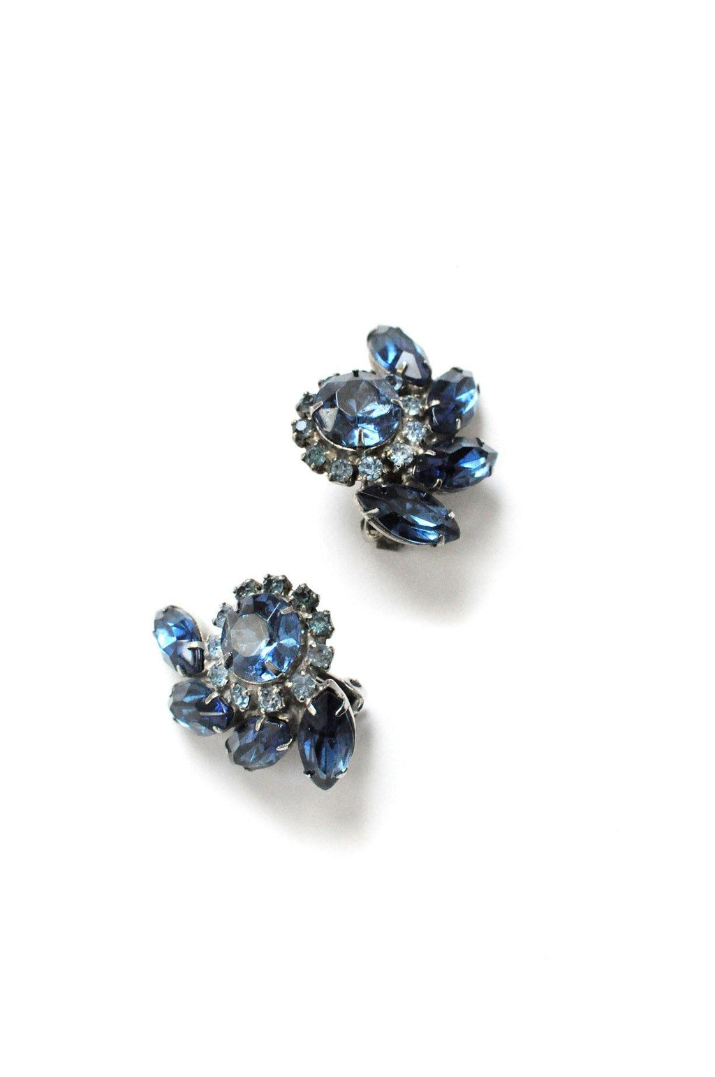 Blue Rhinestone Clip-on Earrings