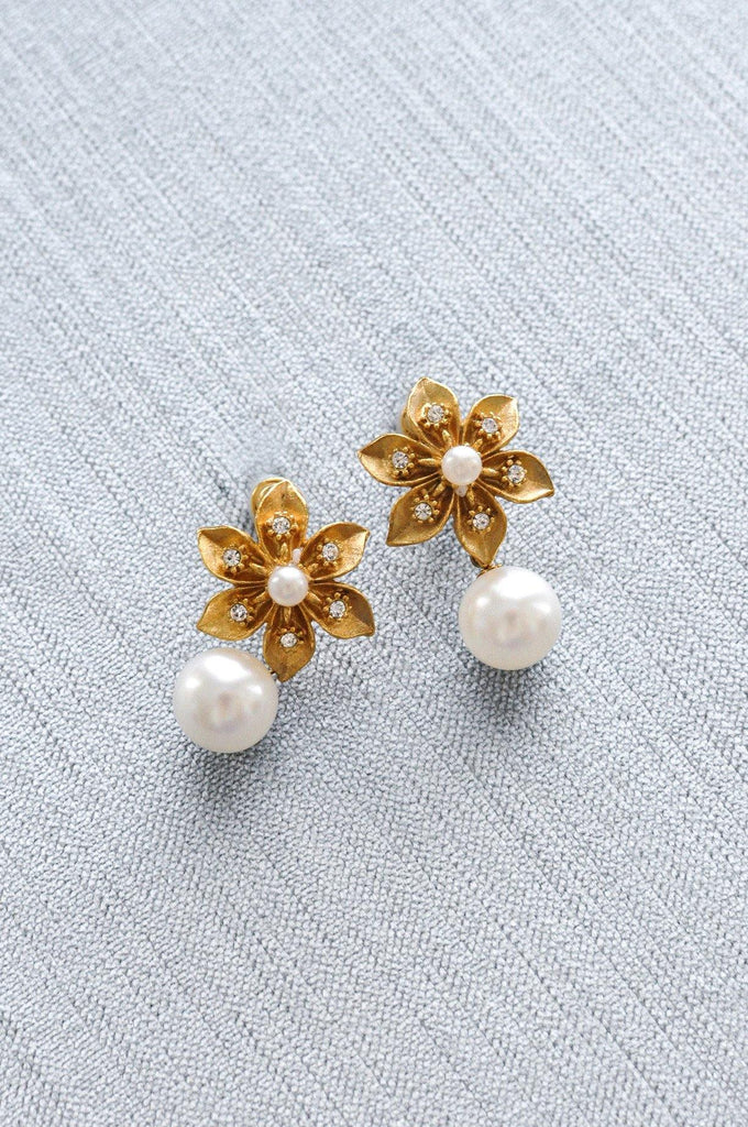 Floral Pearl Drop Clip-on Earrings