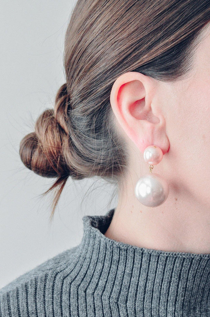 Pink Pearl Pierced Earrings