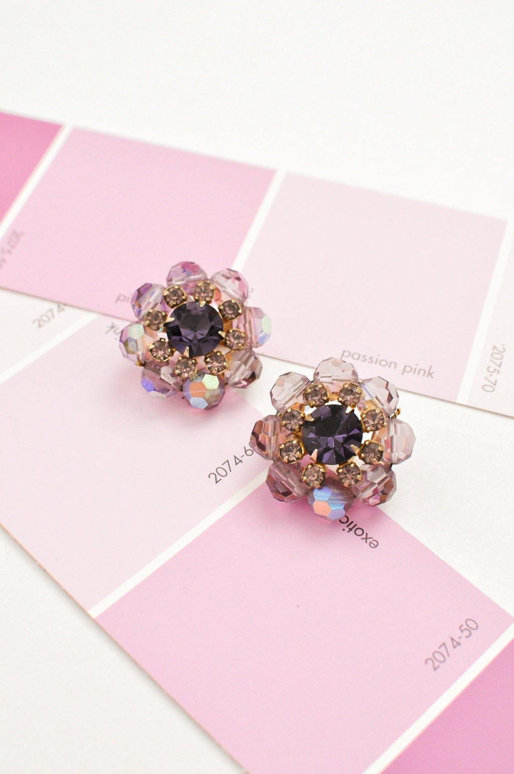 Purple Rhinestone Crystal Clip-on Earrings