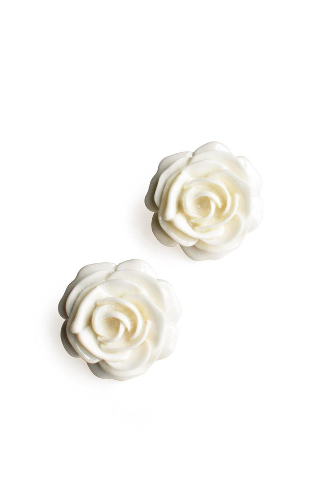 Statement Cream Floral Pierced Earrings