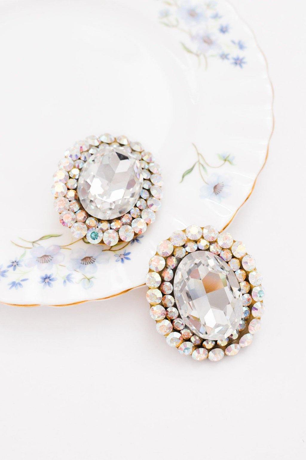Statement Rhinestone Gem Clip-on Earrings