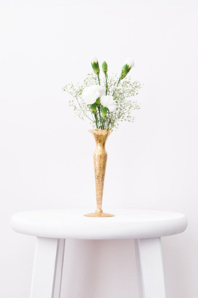 Etched Floral Gold Vase