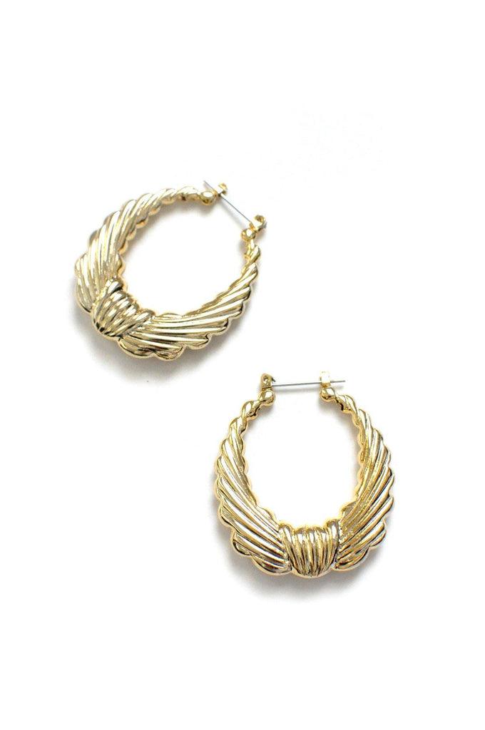 Textured Hoop Pierced Earrings