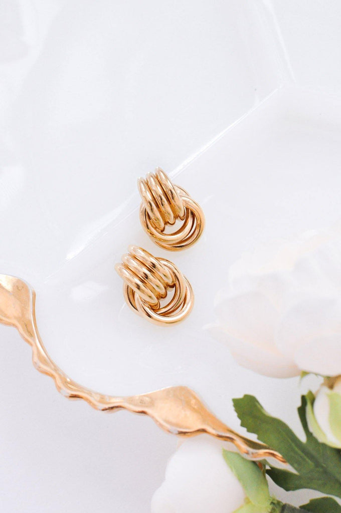 Stacked Door Knocker Pierced Earrings