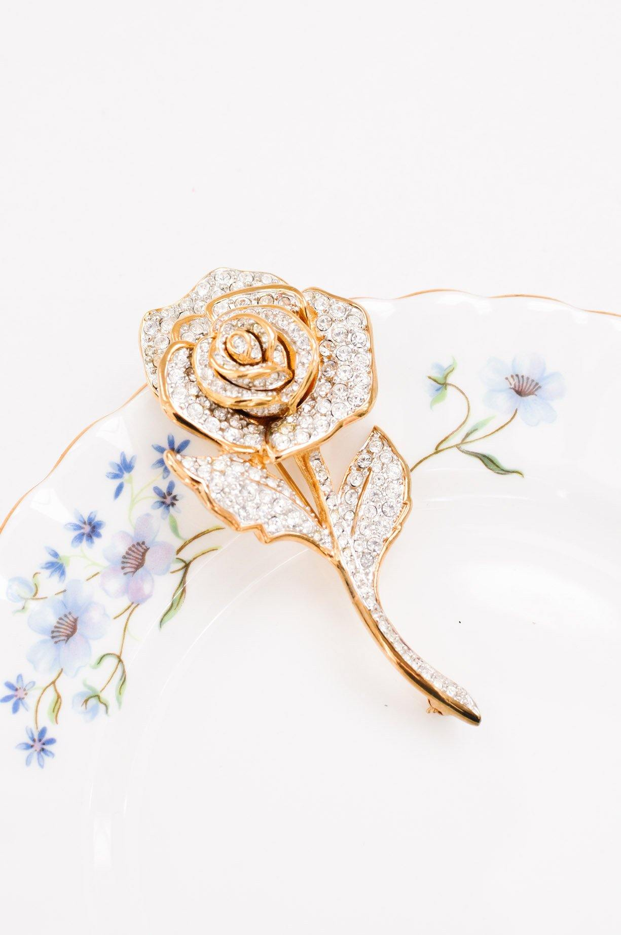 Rhinestone Rose Stem Brooch
