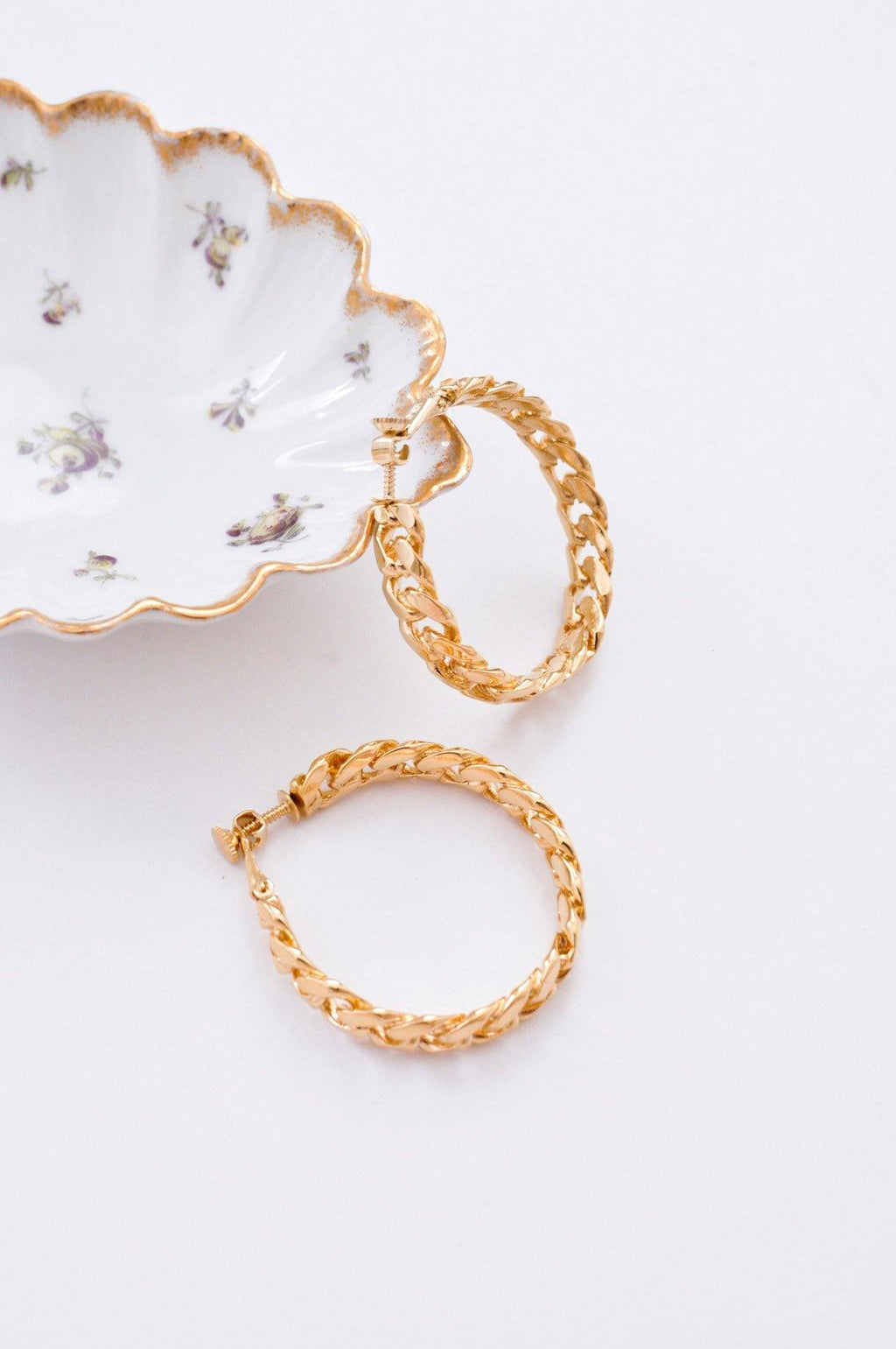 Curb Chain Hoop Clip-on Earrings