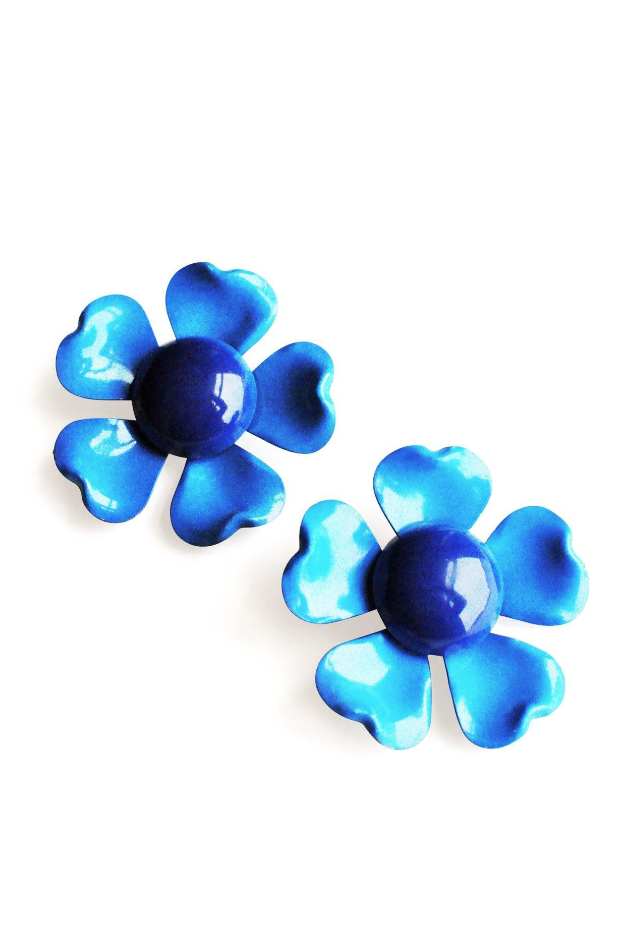 Blue Floral Clip-on Earrings from Sweet & Spark