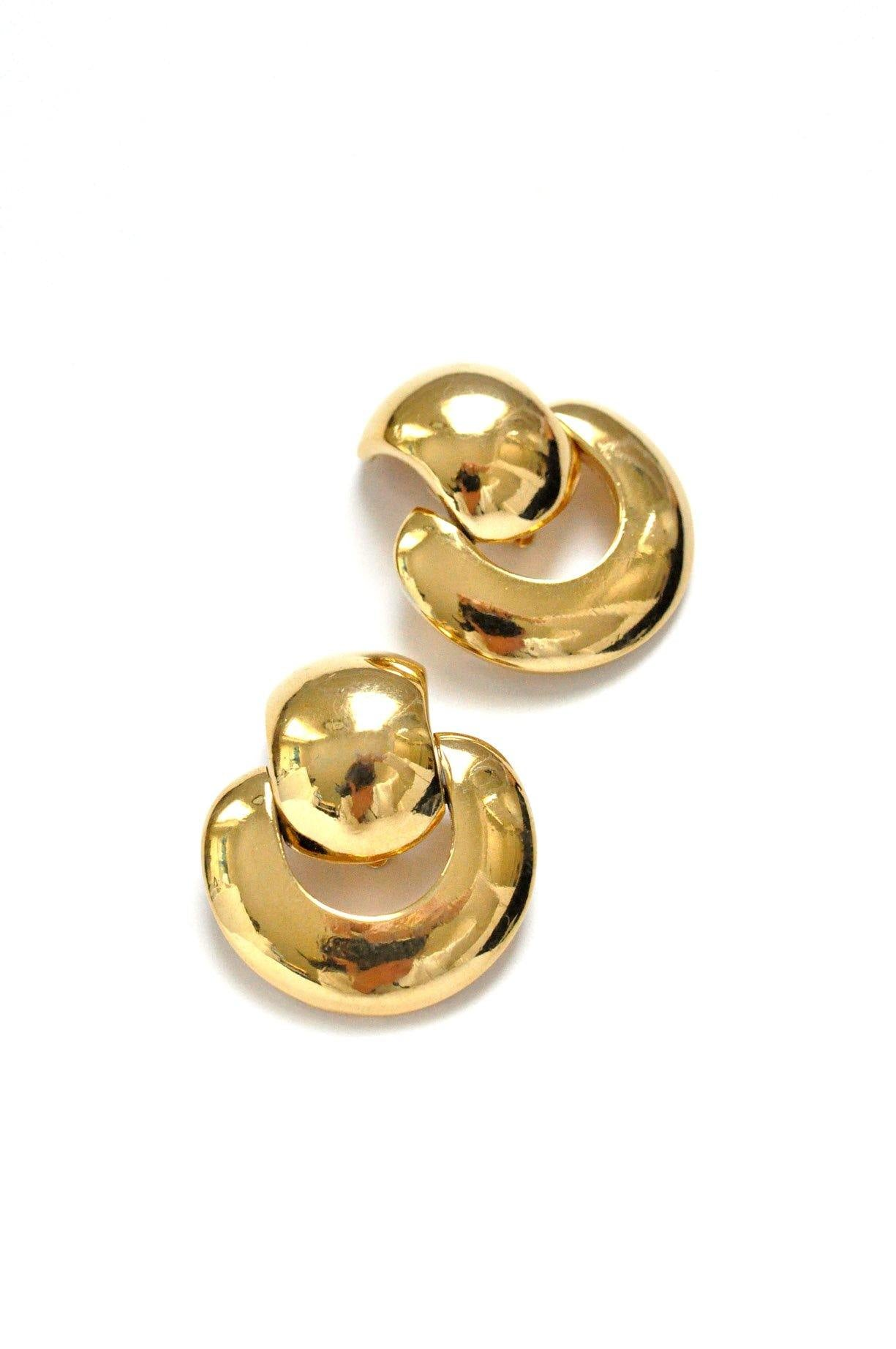 Gold Door Knocker Clip-on Earrings