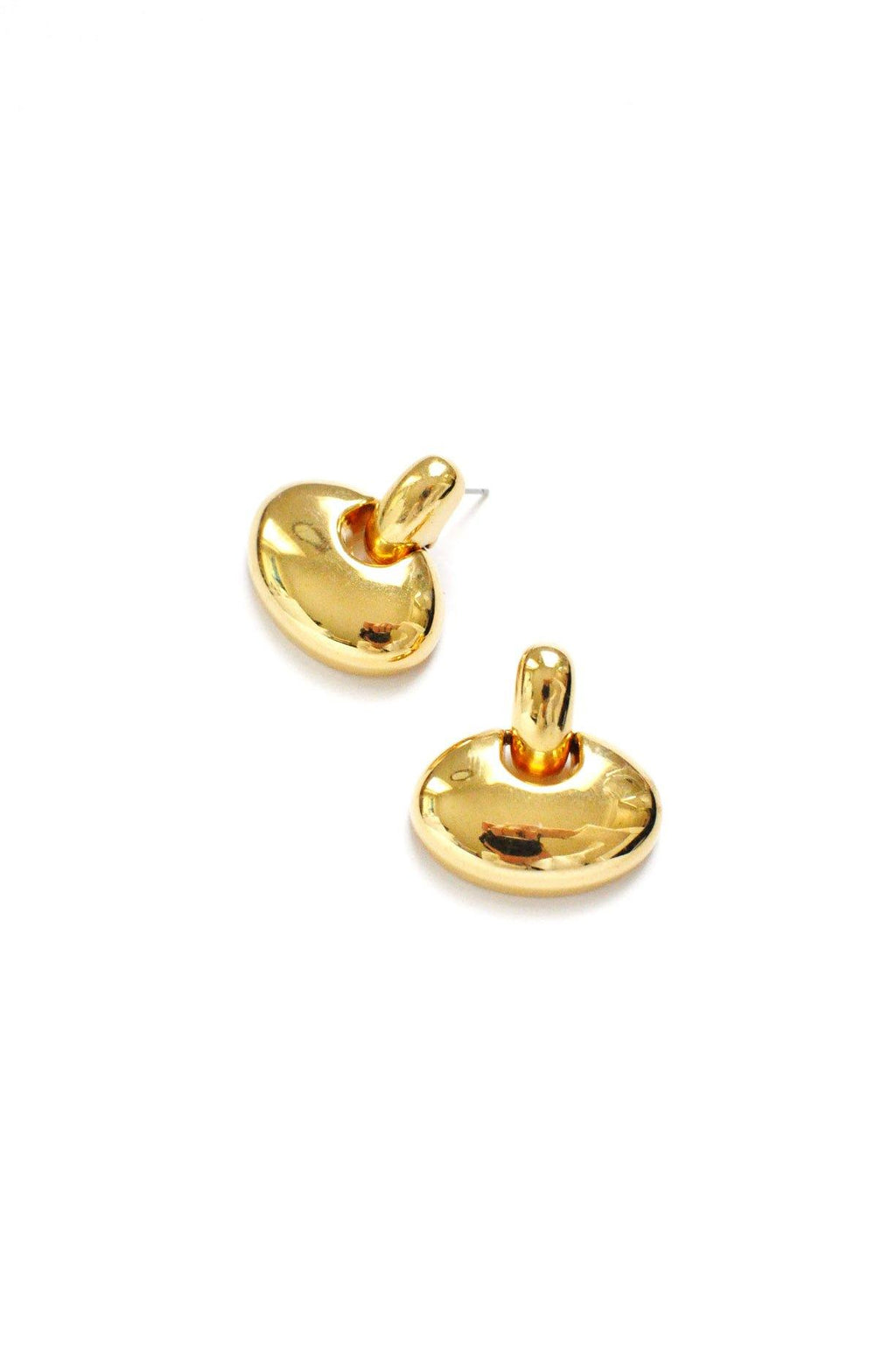Gold Door Knocker Pierced Earrings