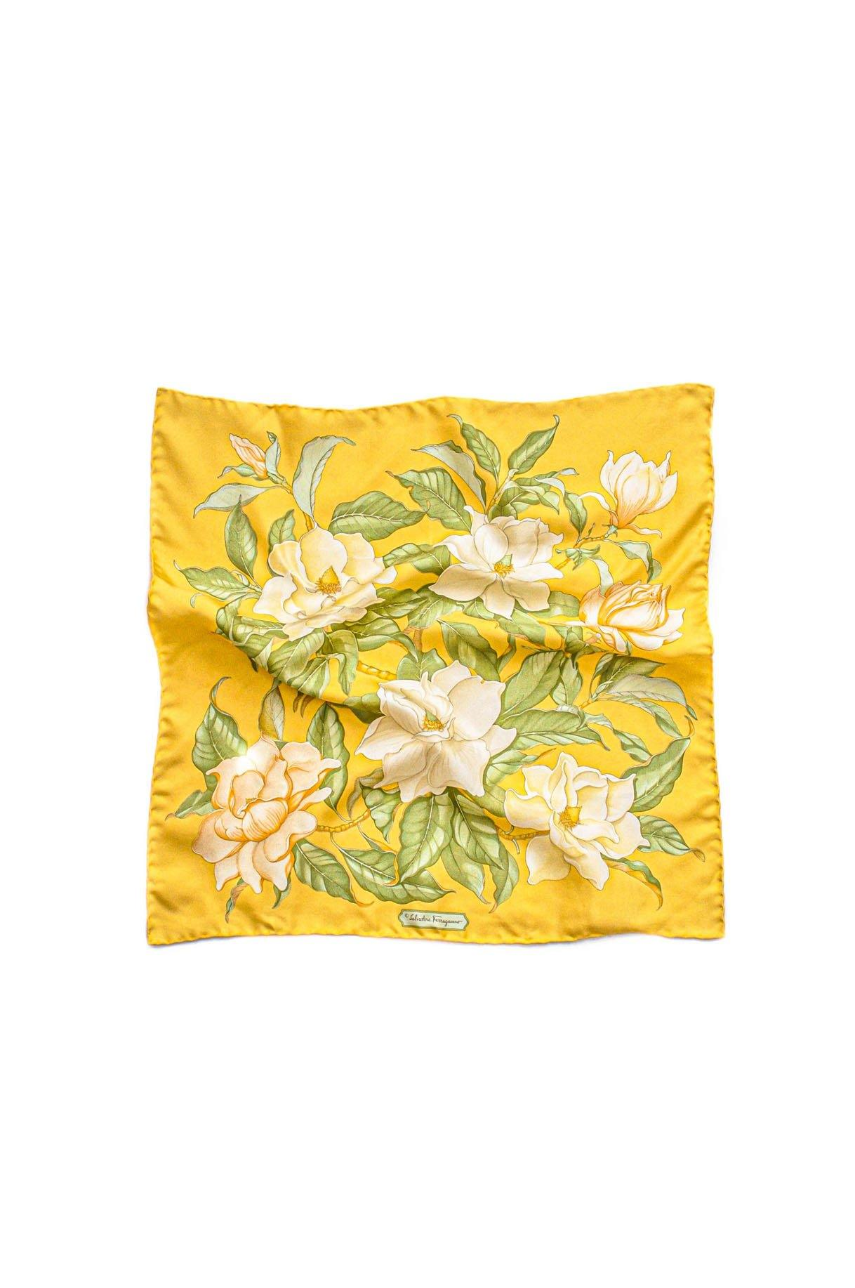Vintage Ferragamo Yellow Florals Scarf from Sweet & Spark.