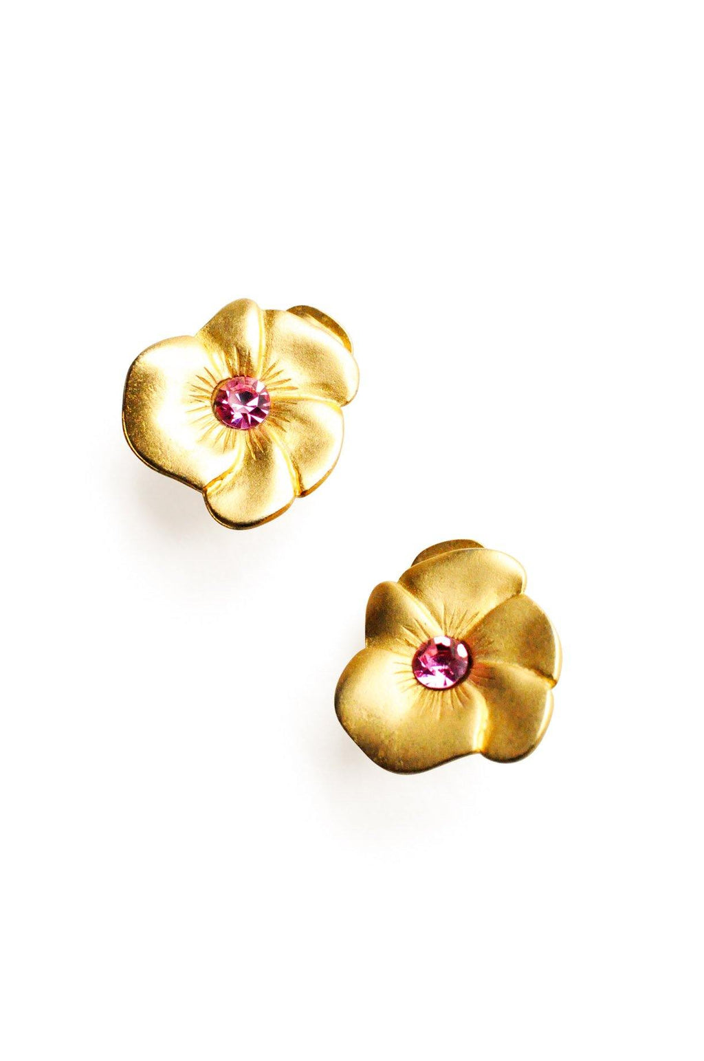 Pink Rhinestone Floral  Clip-on Earrings