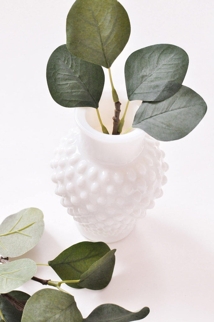 Textured Milk Glass Vase