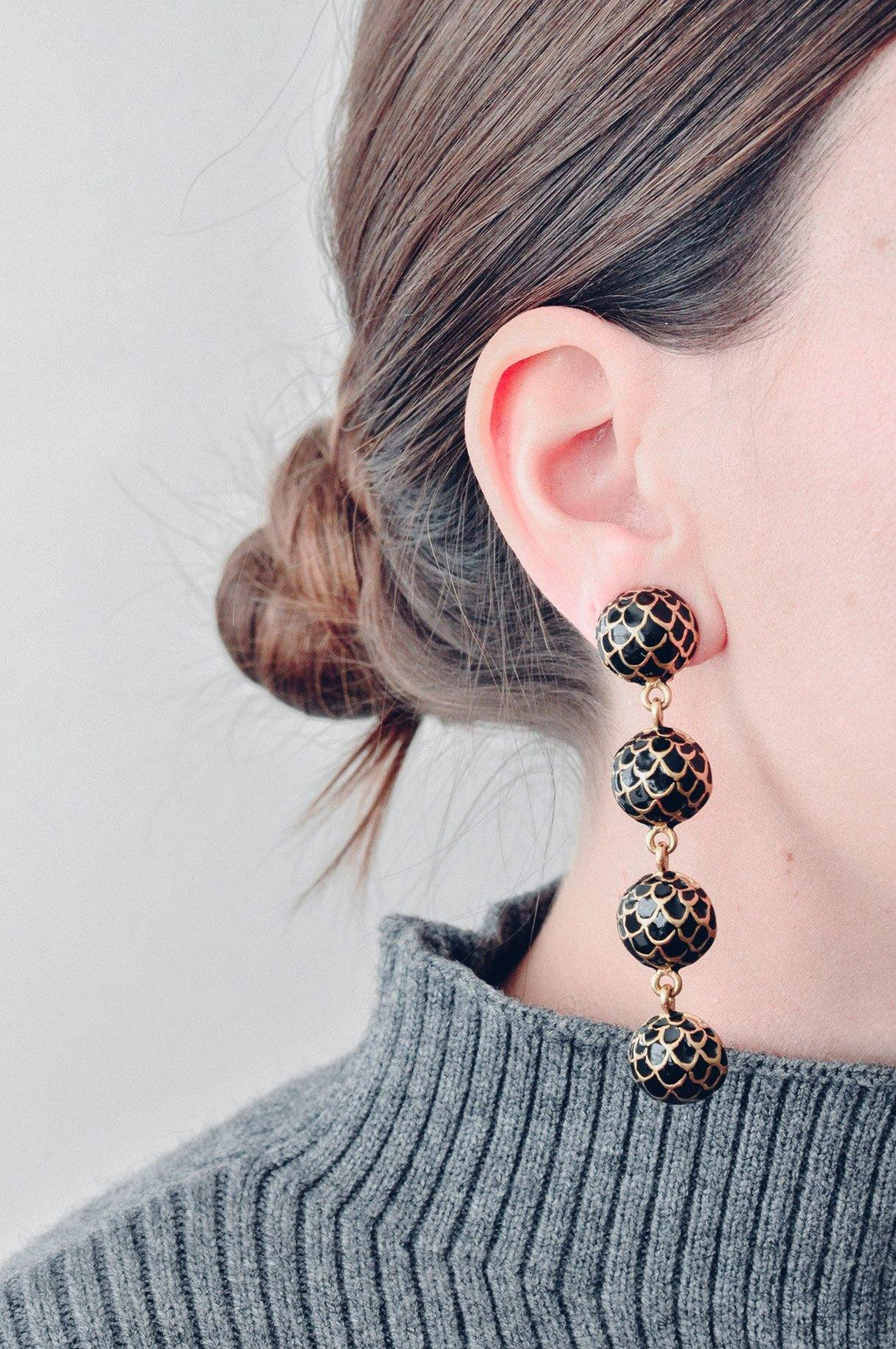 Scalloped Ball Drop Clip-on Earrings