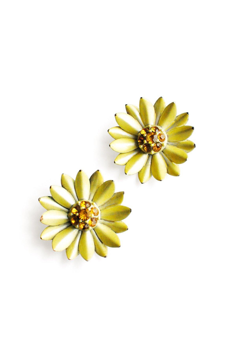 Yellow Rhinestone Floral Clip-on Earrings