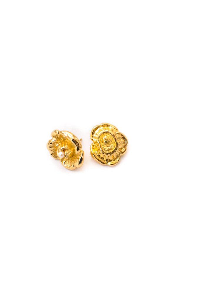 Christian Dior Floral Pierced Earrings