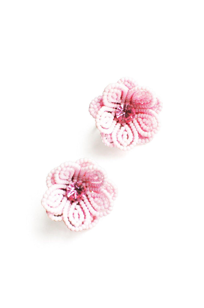 Beaded Floral Clip-on Earrings