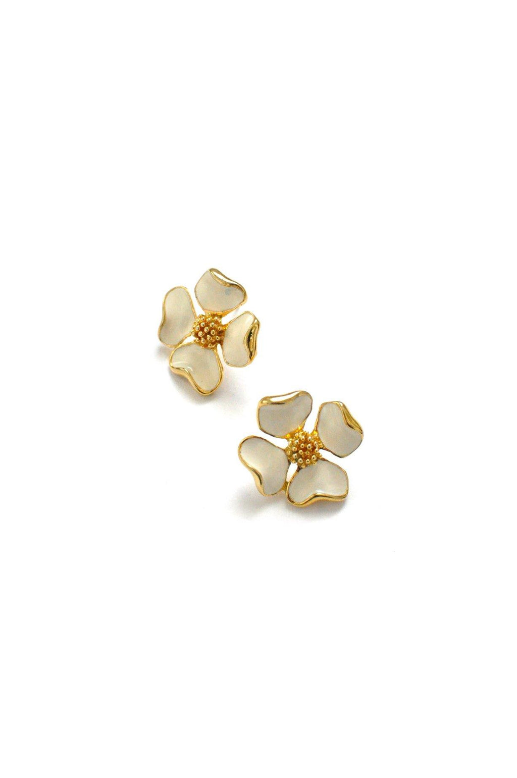 Enamel Floral Pierced Earrings