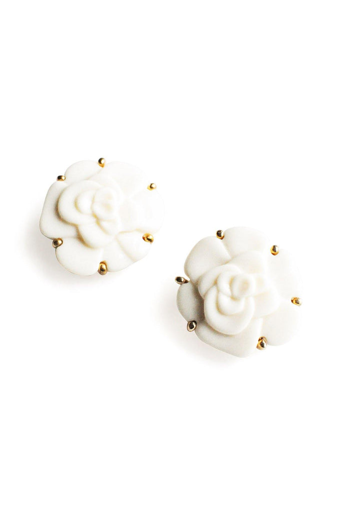 Cream Floral Clip-On Earrings