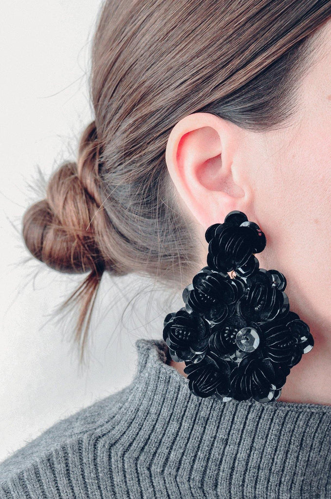 Black Sequin Floral Pierced Earrings