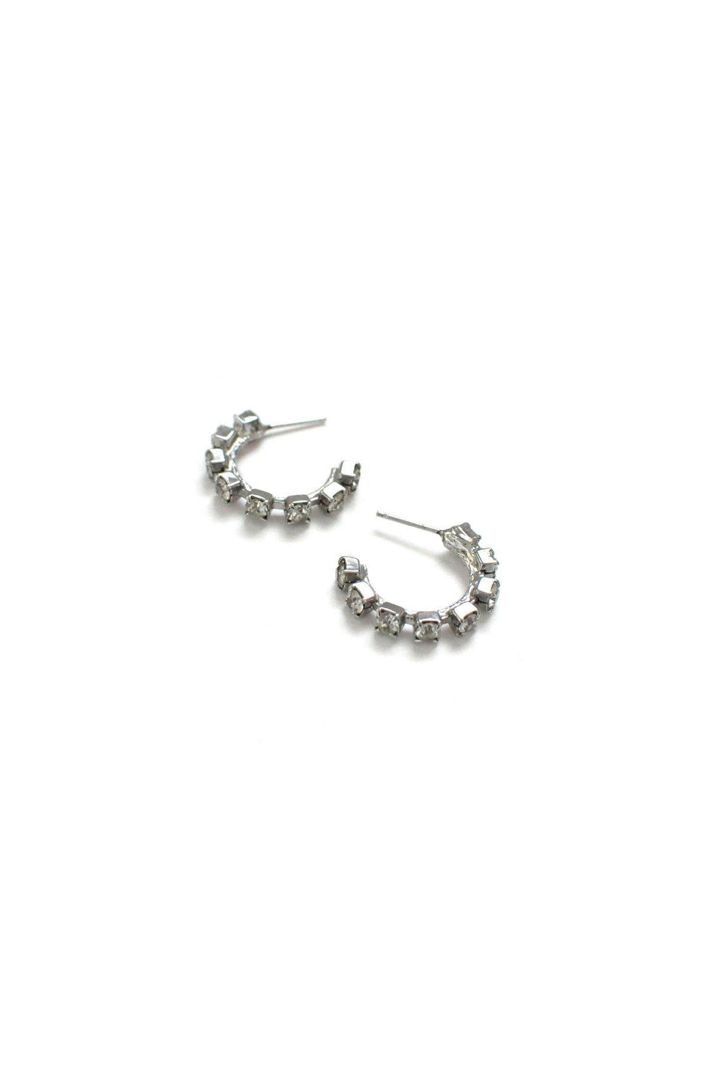 Rhinestone Hoop Pierced Earrings