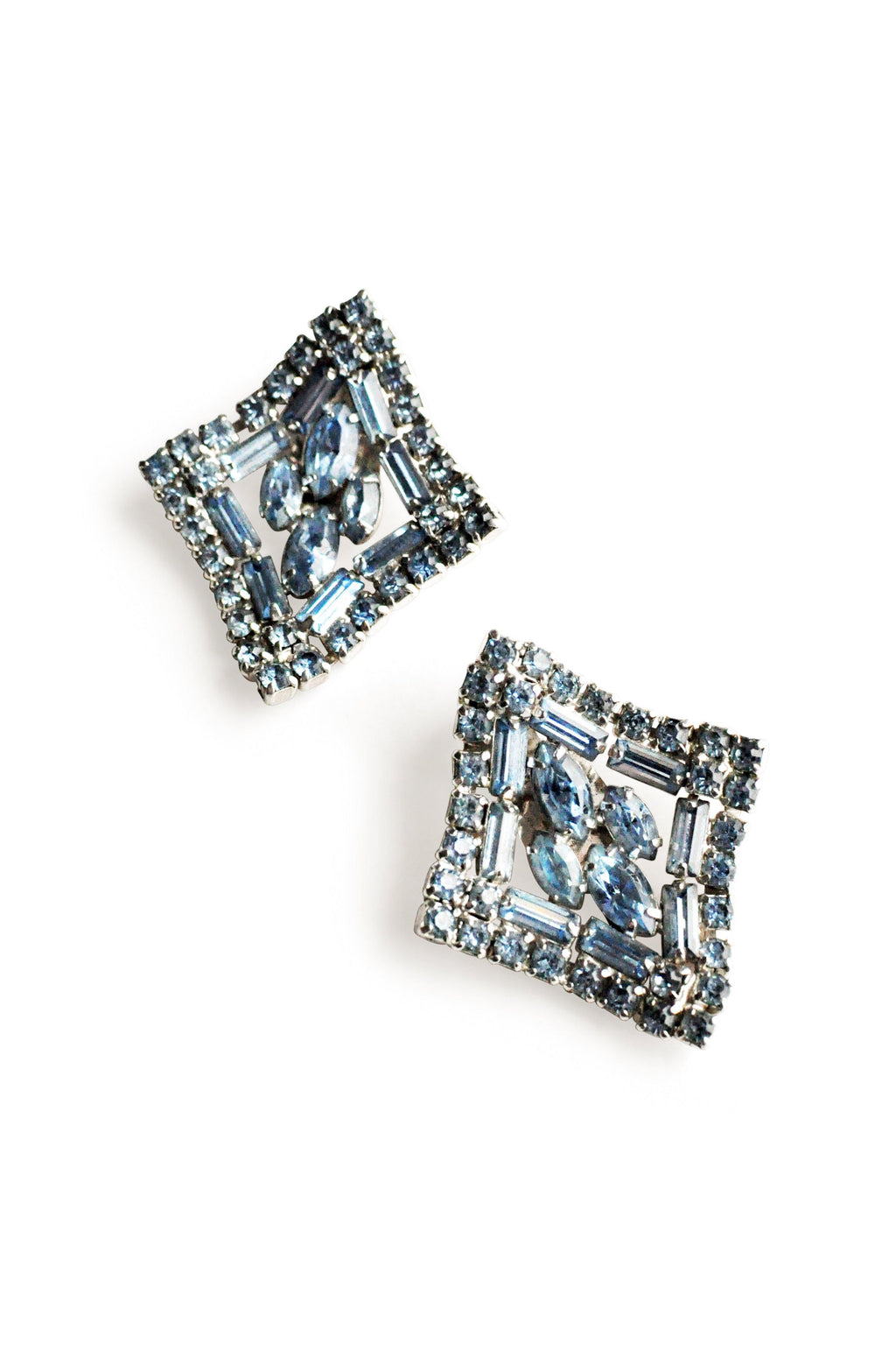 Light Blue Rhinestone Clip-on Earrings