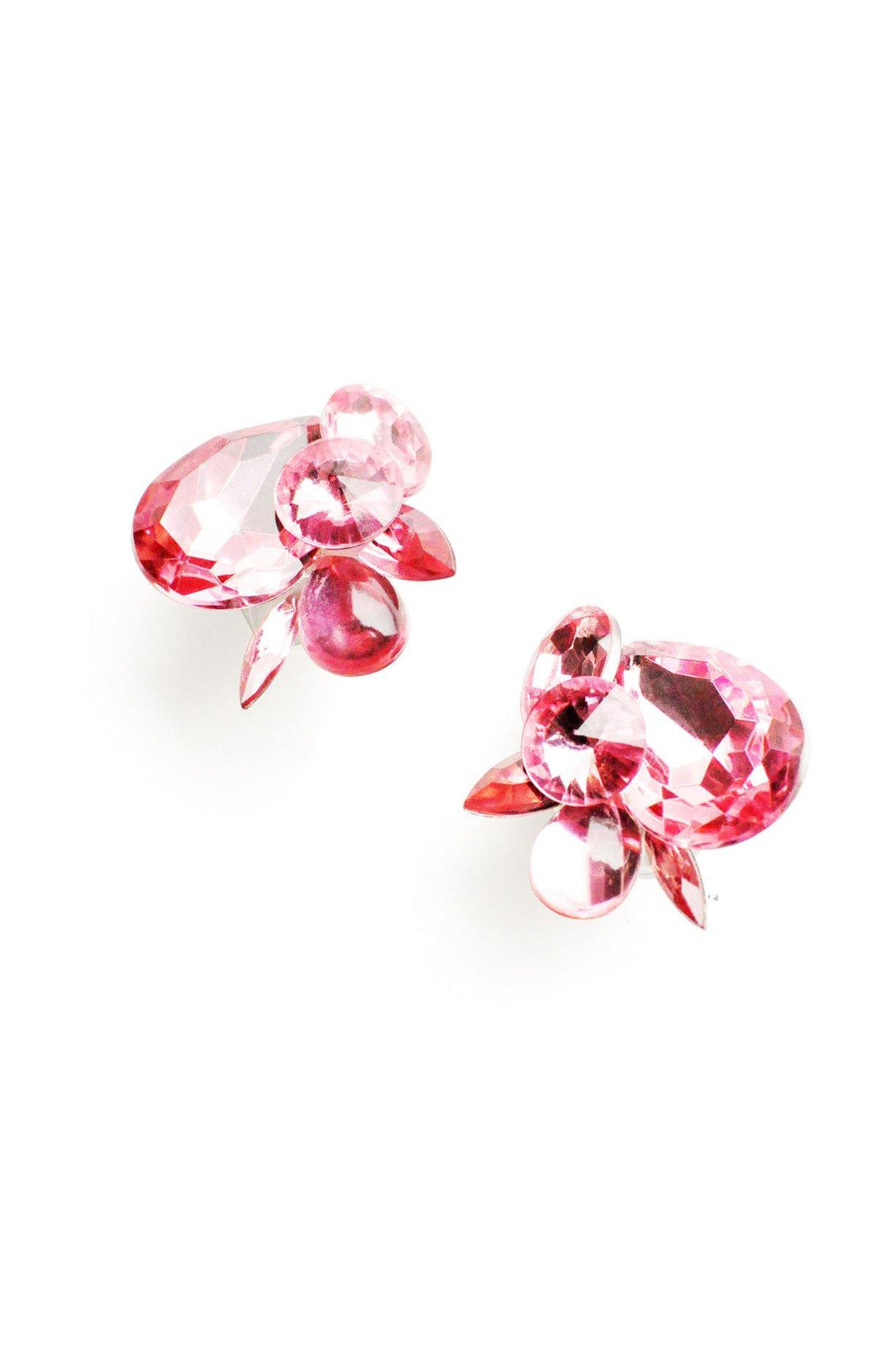 Pink Statement Gem Clip-on Earrings