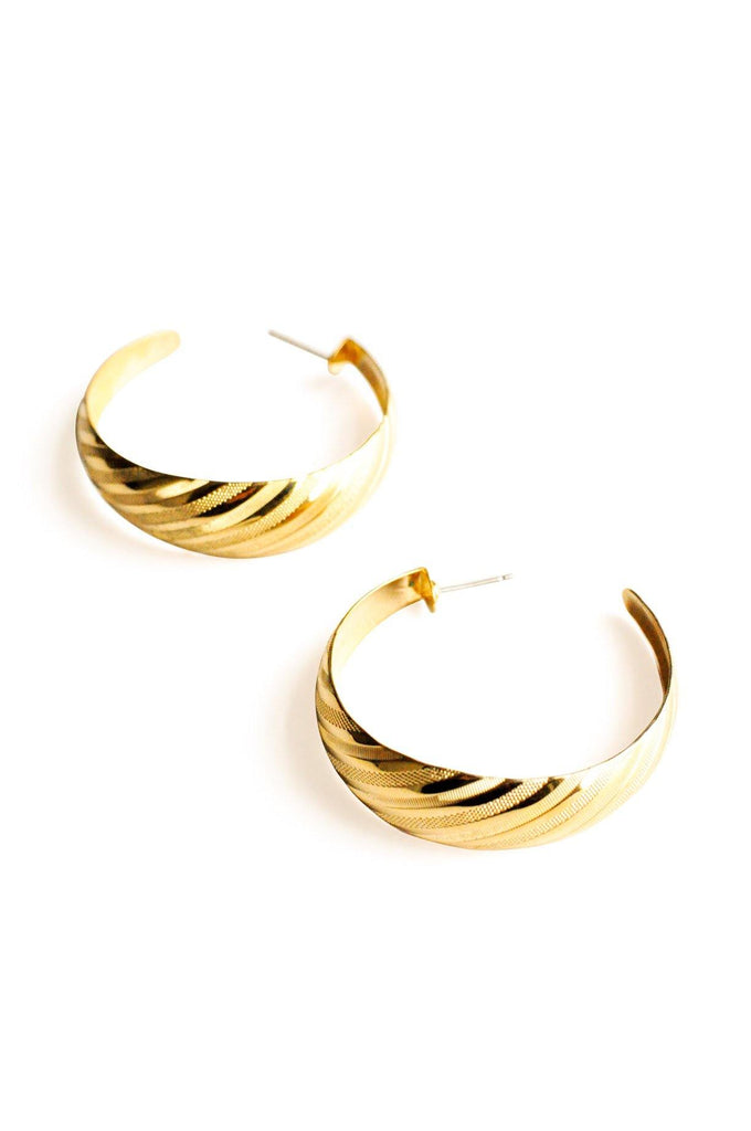 Etched Hoop Pierced Earrings