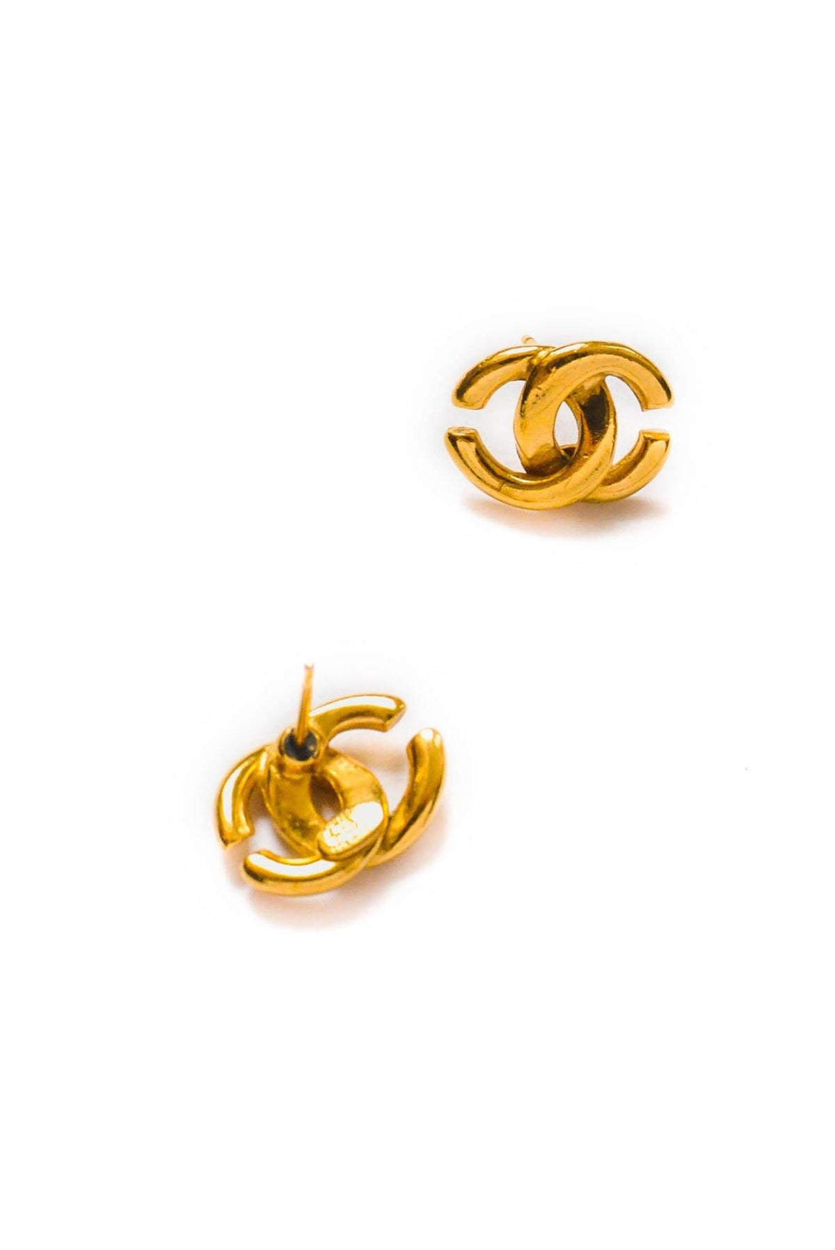 Vintage Chanel CC Pierced Earrings from Sweet and Spark