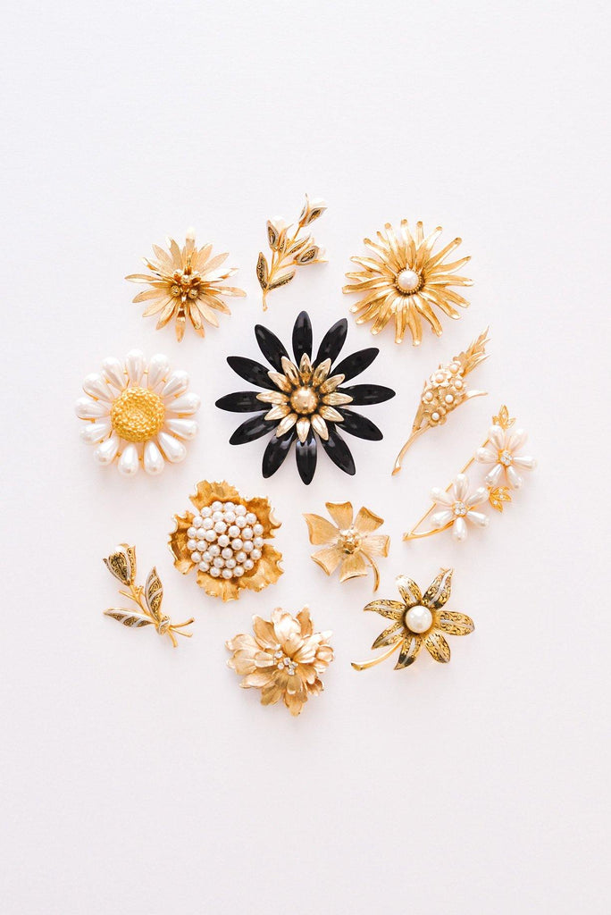 Gold Floral Brooch