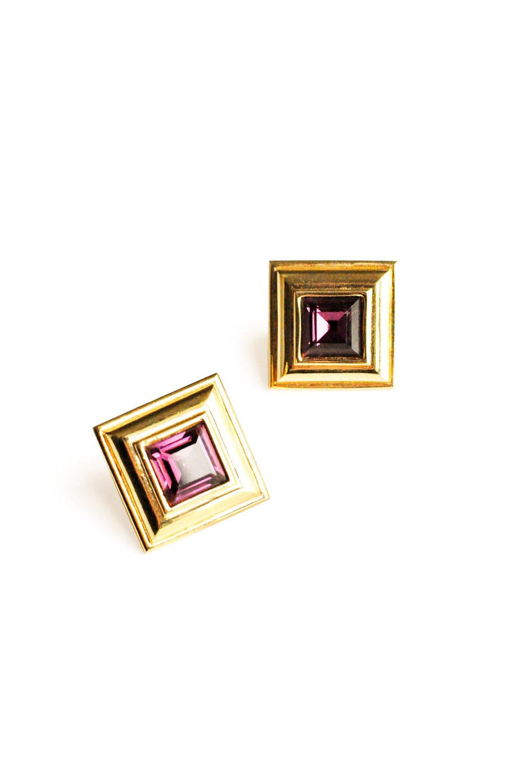 Purple Square Pierced Earrings
