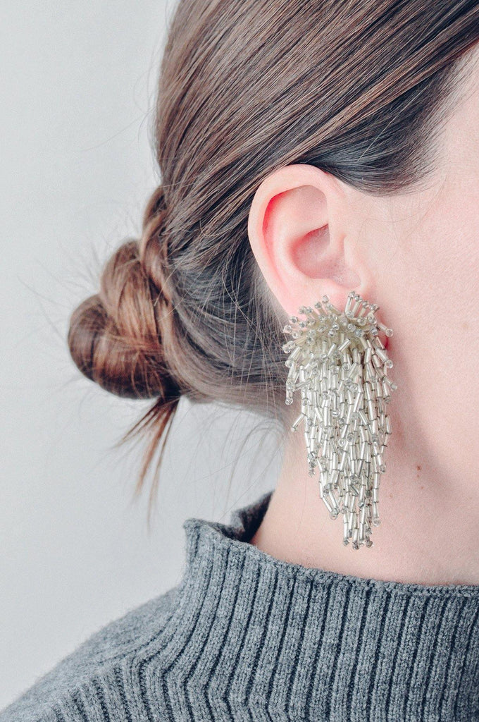 Silver Confetti Clip-on Earrings