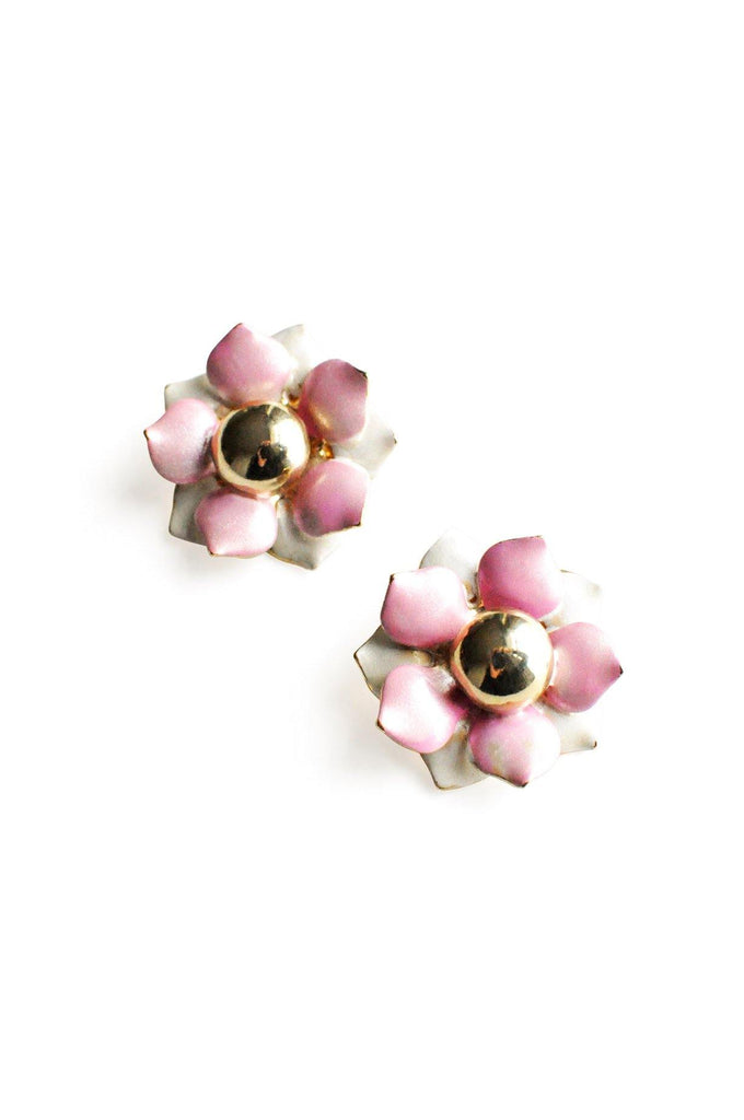 Pink Floral Pierced Earrings