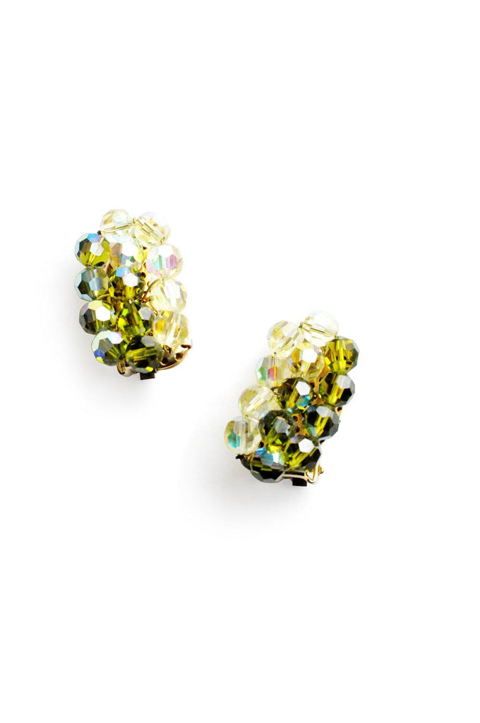 Green Crystal Crawler Clip-on Earrings