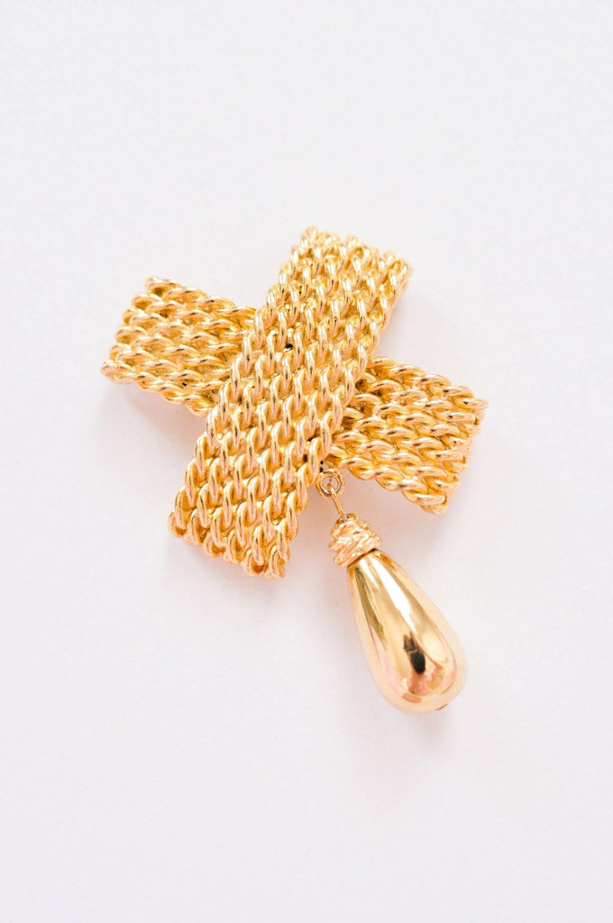 Gold Cross Drop Brooch